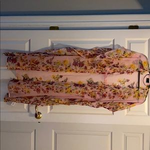 Pink floral beach cover up